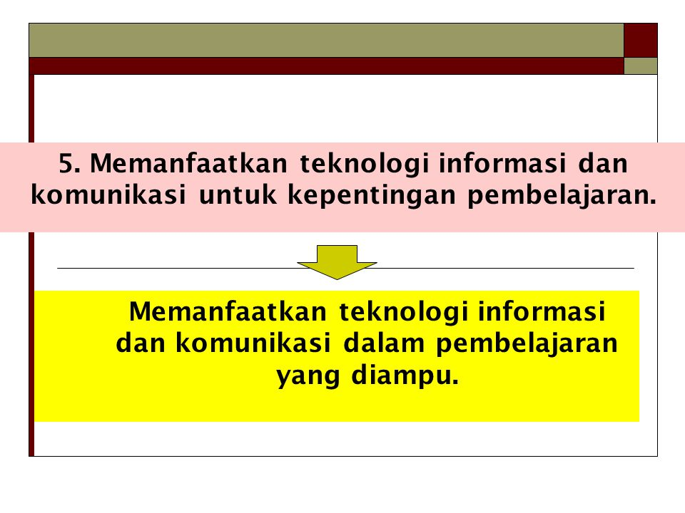 5.Memanfaatkan teknologi informasi dan komunikasi untuk kepentingan pembelajaran.