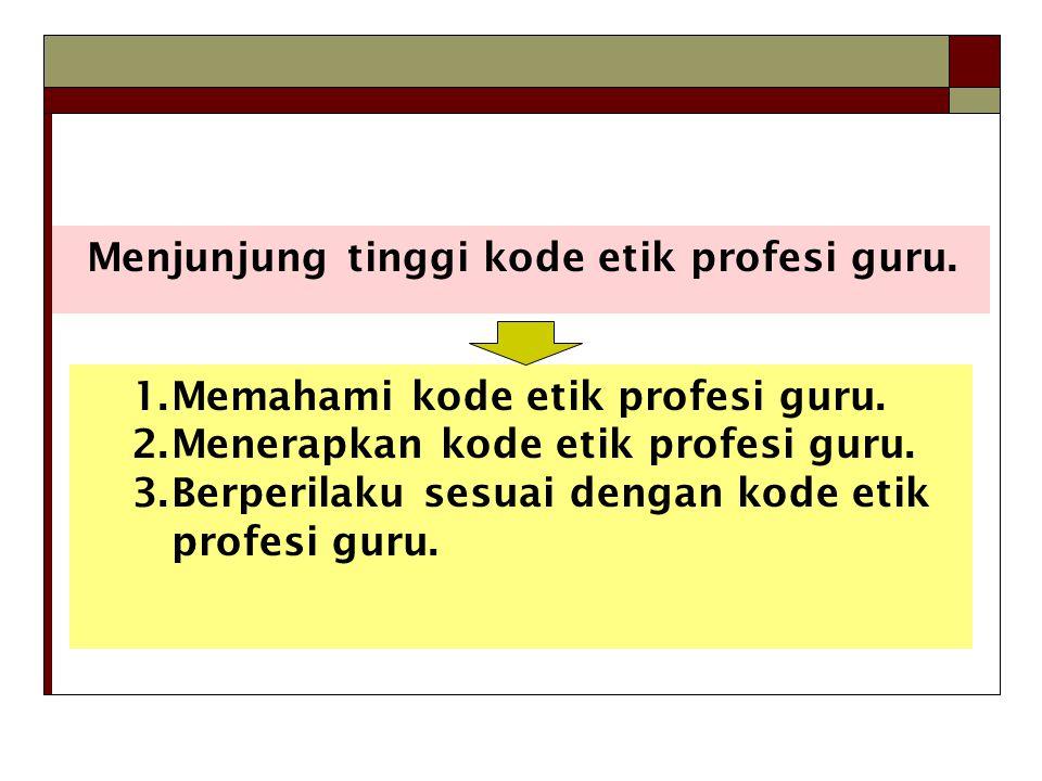 Menjunjung tinggi kode etik profesi guru.1.Memahami kode etik profesi guru.