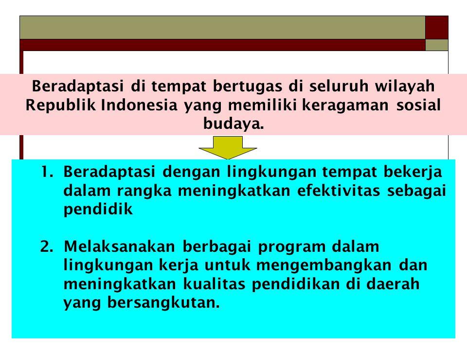 Beradaptasi di tempat bertugas di seluruh wilayah Republik Indonesia yang memiliki keragaman sosial budaya.