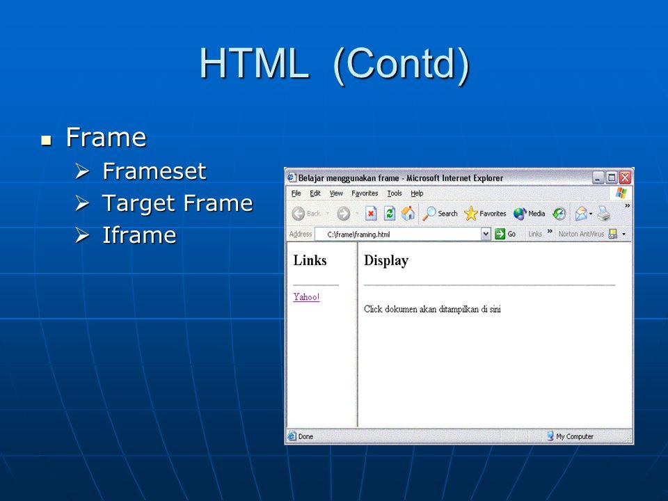HTML (Contd) Frame Frame  Frameset  Target Frame  Iframe