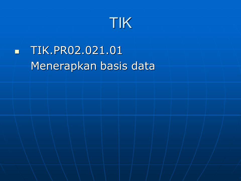 TIK TIK.PR02.021.01 TIK.PR02.021.01 Menerapkan basis data