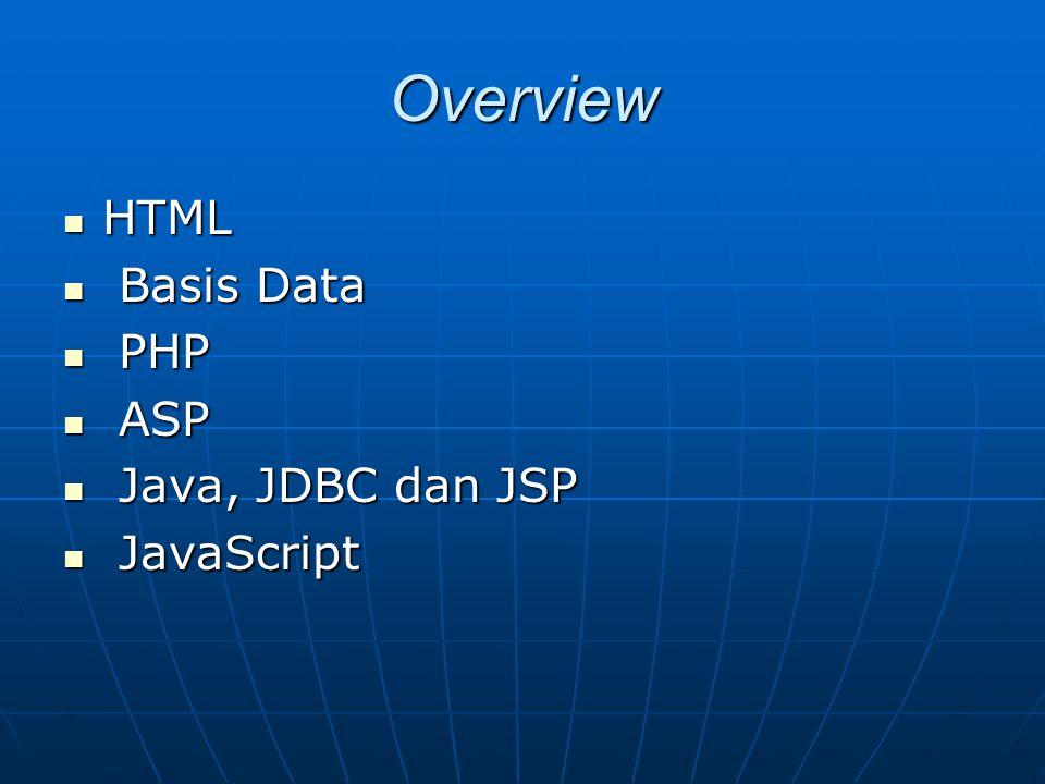 Javascript (Contd) Frame Frame HTML FrameHTML Frame Script dengan FrameScript dengan Frame Setiap frame memiliki objek window yang berbeda Setiap frame memiliki objek window yang berbeda Window.parent, window.top Window.parent, window.top Validasi data untuk Form Validasi data untuk Form Objek FormObjek Form Menggambarkan form dalam HTML Menggambarkan form dalam HTML Pengujian untuk fields tertentuPengujian untuk fields tertentu Validasi data numerikValidasi data numerik isNan(), parseInt(), parseFloat() isNan(), parseInt(), parseFloat() Validasi data stringValidasi data string Regular Expression Regular Expression