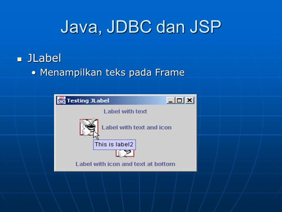 Java, JDBC dan JSP JLabel JLabel Menampilkan teks pada FrameMenampilkan teks pada Frame