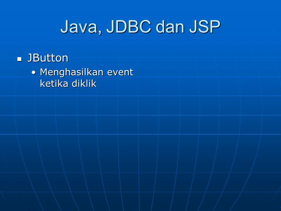 Java, JDBC dan JSP JButton JButton Menghasilkan event ketika diklikMenghasilkan event ketika diklik