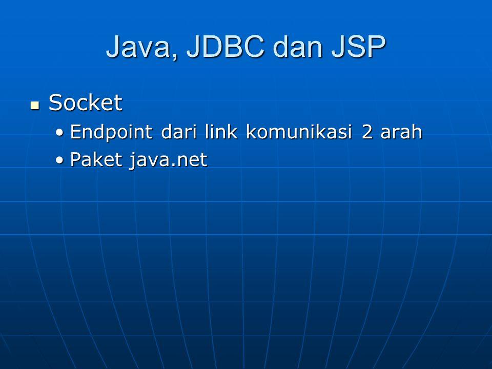 Java, JDBC dan JSP Socket Socket Endpoint dari link komunikasi 2 arahEndpoint dari link komunikasi 2 arah Paket java.netPaket java.net