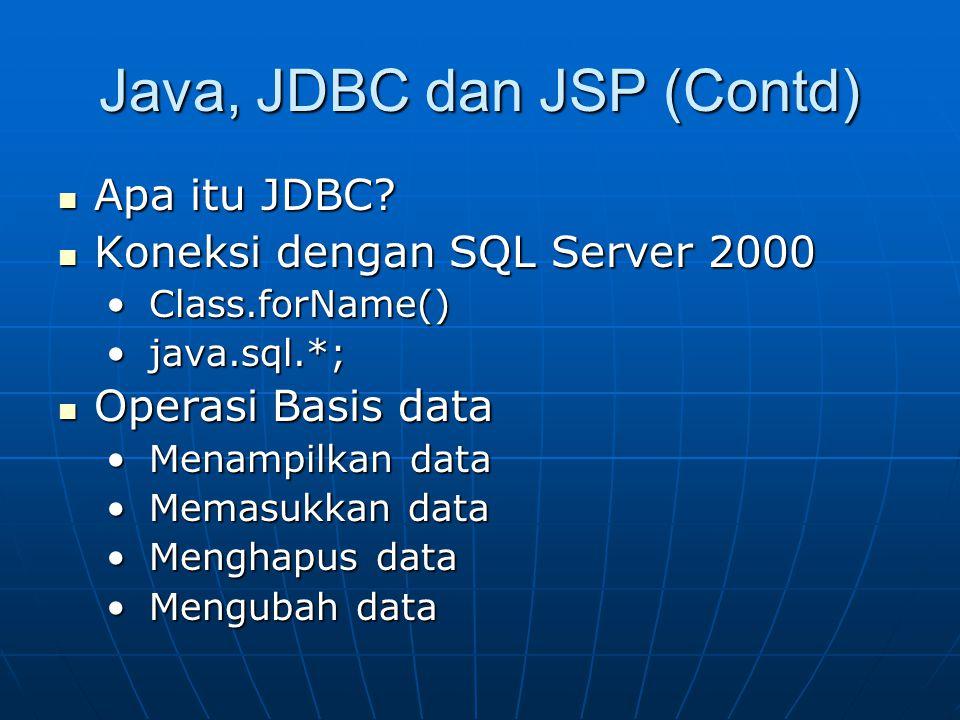 Java, JDBC dan JSP (Contd) Apa itu JDBC? Apa itu JDBC? Koneksi dengan SQL Server 2000 Koneksi dengan SQL Server 2000 Class.forName() Class.forName() j