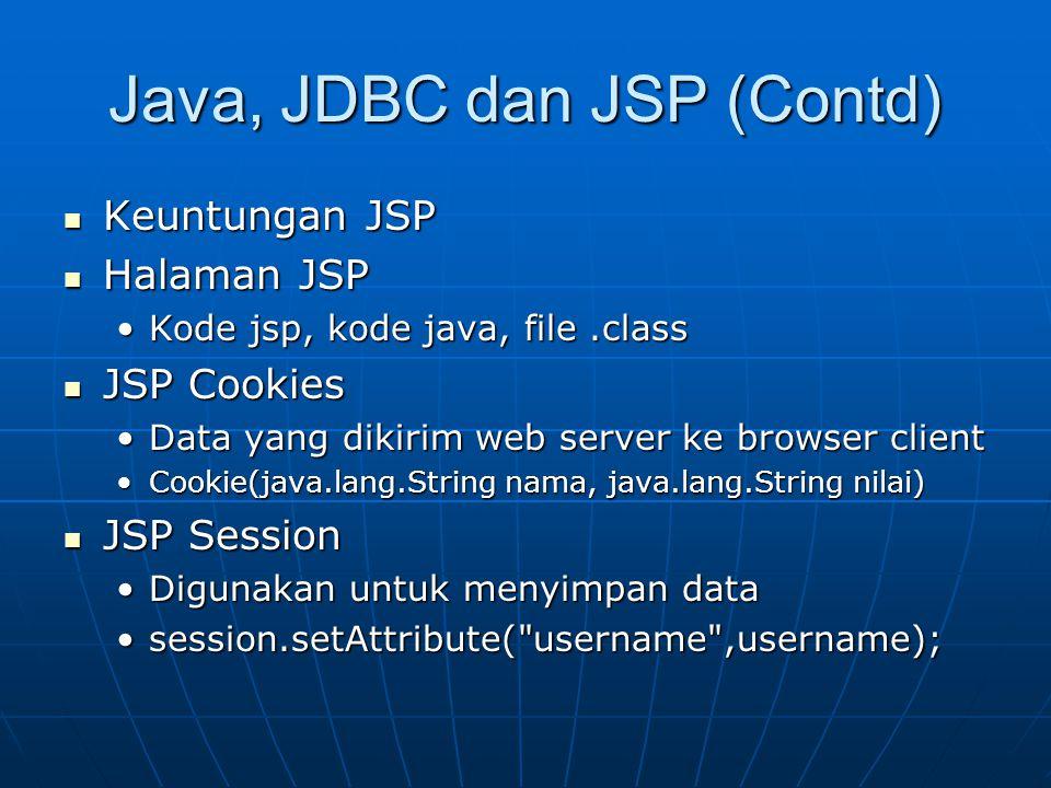 Java, JDBC dan JSP (Contd) Keuntungan JSP Keuntungan JSP Halaman JSP Halaman JSP Kode jsp, kode java, file.classKode jsp, kode java, file.class JSP Co