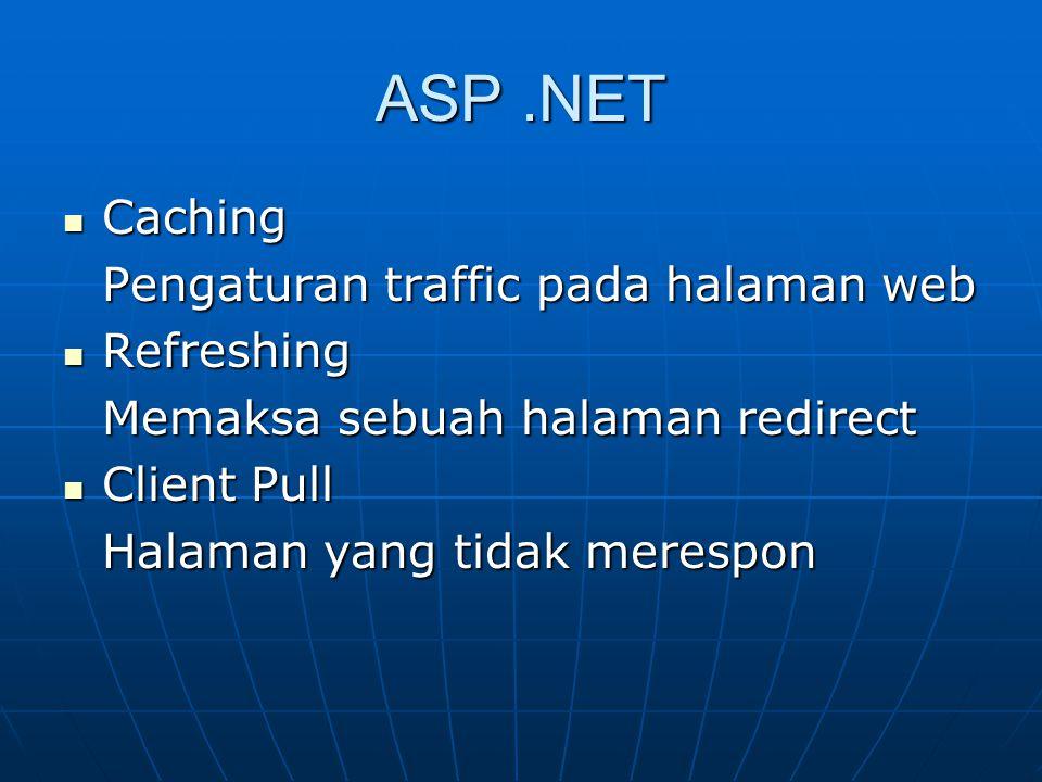 ASP.NET Caching Caching Pengaturan traffic pada halaman web Refreshing Refreshing Memaksa sebuah halaman redirect Client Pull Client Pull Halaman yang
