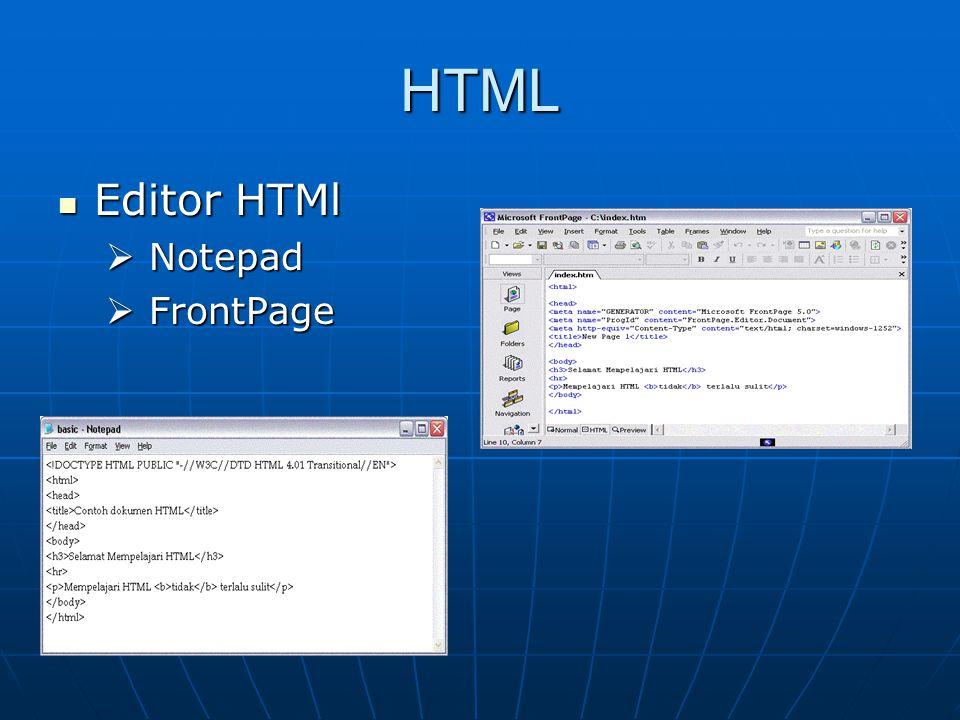 HTML Editor HTMl Editor HTMl  Notepad  FrontPage