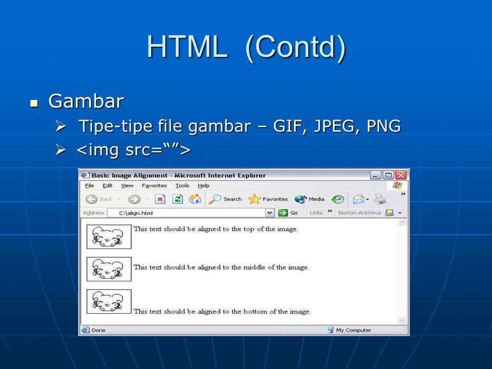 HTML (Contd) Gambar Gambar  Tipe-tipe file gambar – GIF, JPEG, PNG  