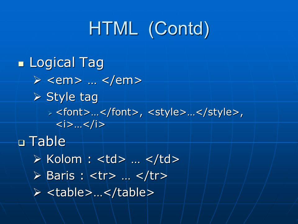 HTML (Contd) Logical Tag Logical Tag  …  …  Style tag  …, …, …  …, …, …  Table  Kolom : …  Kolom : …  Baris : …  Baris : …  …  …