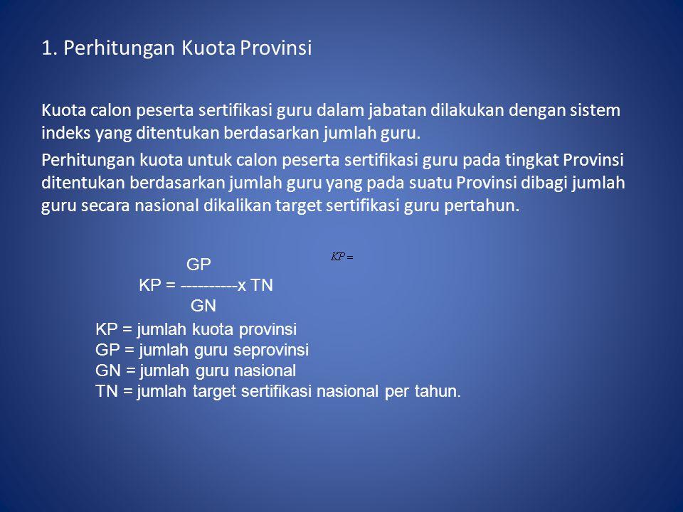 1. Perhitungan Kuota Provinsi Kuota calon peserta sertifikasi guru dalam jabatan dilakukan dengan sistem indeks yang ditentukan berdasarkan jumlah gur