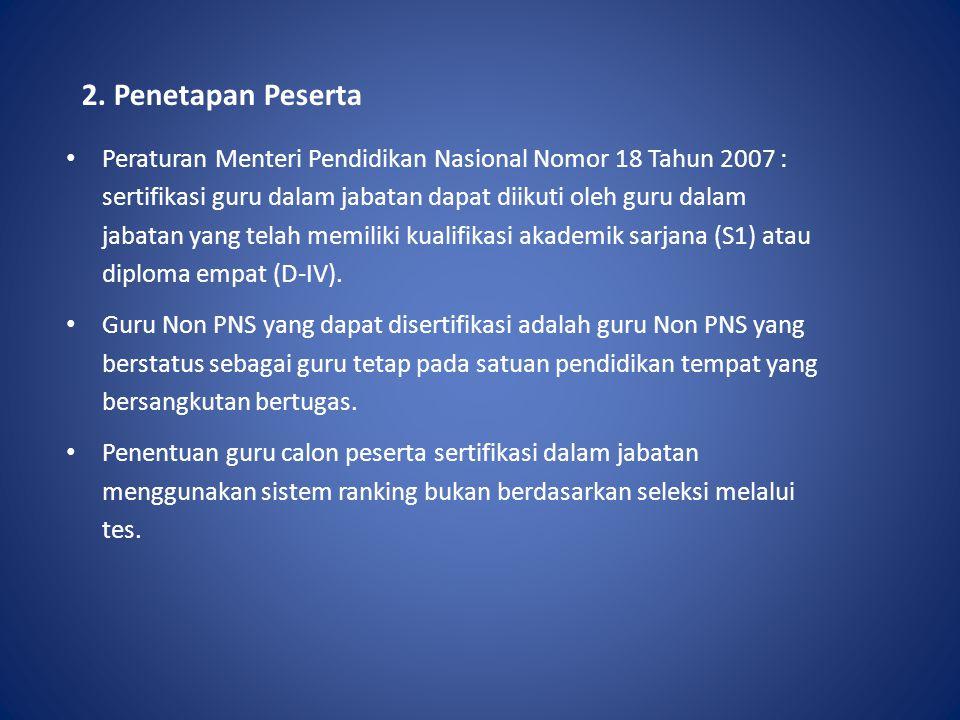 2. Penetapan Peserta Peraturan Menteri Pendidikan Nasional Nomor 18 Tahun 2007 : sertifikasi guru dalam jabatan dapat diikuti oleh guru dalam jabatan