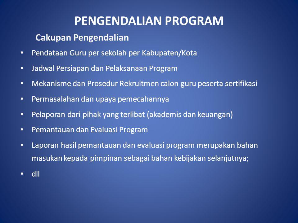 PENGENDALIAN PROGRAM Cakupan Pengendalian Pendataan Guru per sekolah per Kabupaten/Kota Jadwal Persiapan dan Pelaksanaan Program Mekanisme dan Prosedu
