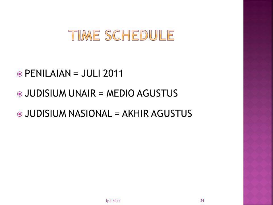  PENILAIAN = JULI 2011  JUDISIUM UNAIR = MEDIO AGUSTUS  JUDISIUM NASIONAL = AKHIR AGUSTUS lp3 2011 34