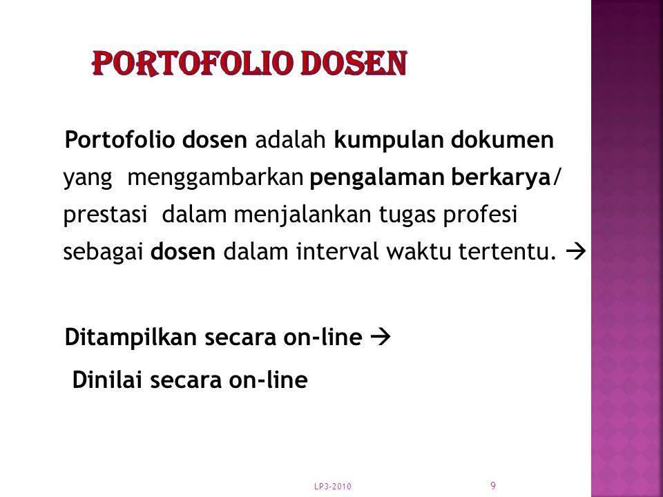 LP3-2010 9 Portofolio dosen adalah kumpulan dokumen yang menggambarkan pengalaman berkarya/ prestasi dalam menjalankan tugas profesi sebagai dosen dal