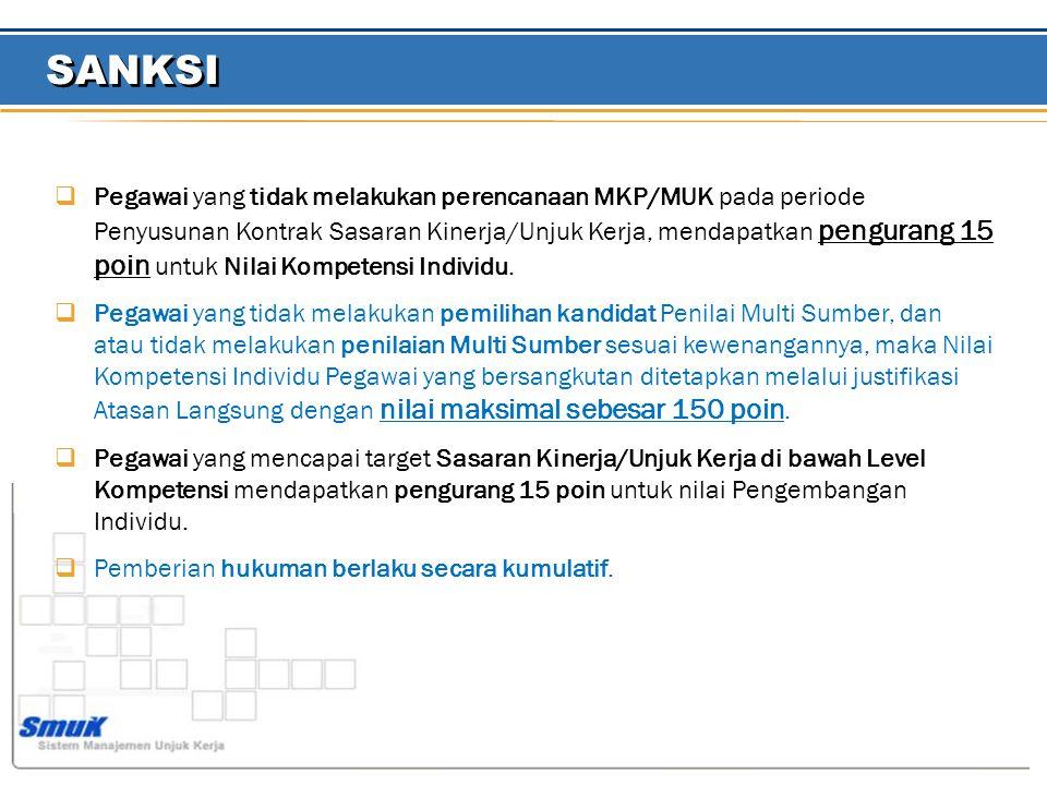  Pegawai yang tidak melakukan perencanaan MKP/MUK pada periode Penyusunan Kontrak Sasaran Kinerja/Unjuk Kerja, mendapatkan pengurang 15 poin untuk Nilai Kompetensi Individu.
