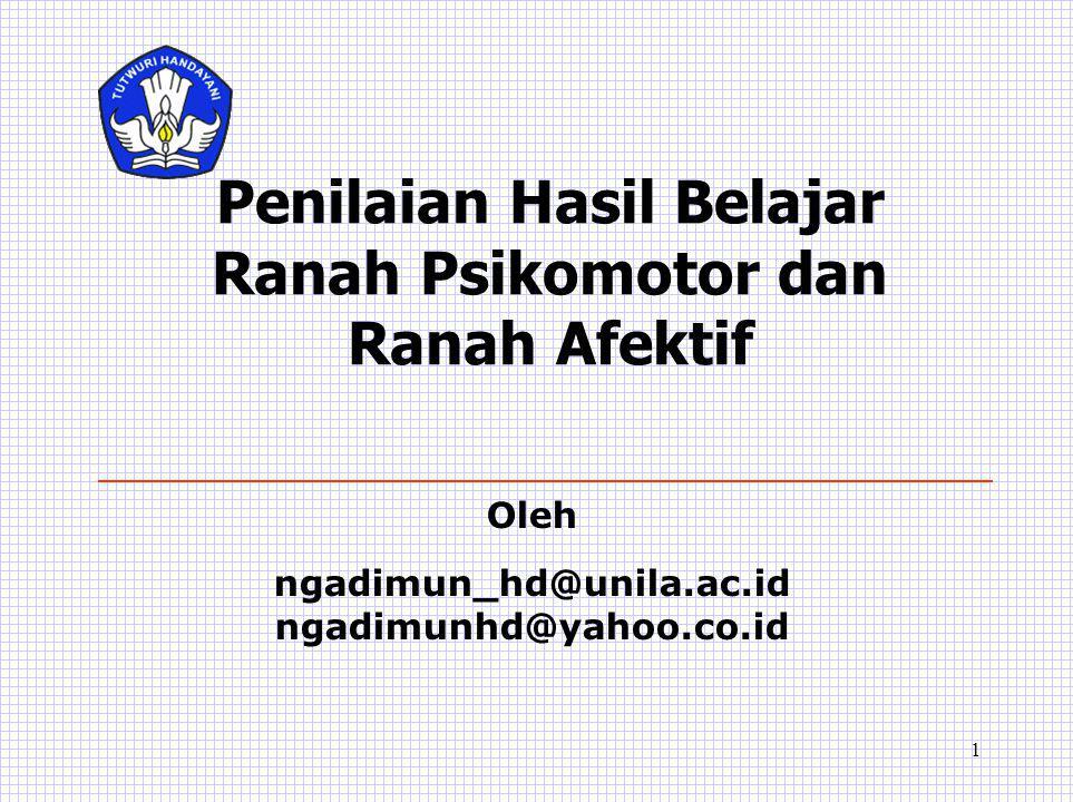 1 Penilaian Hasil Belajar Ranah Psikomotor dan Ranah Afektif Oleh ngadimun_hd@unila.ac.id ngadimunhd@yahoo.co.id