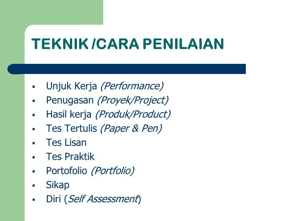TEKNIK /CARA PENILAIAN  Unjuk Kerja (Performance)  Penugasan (Proyek/Project)  Hasil kerja (Produk/Product)  Tes Tertulis (Paper & Pen)  Tes Lisa