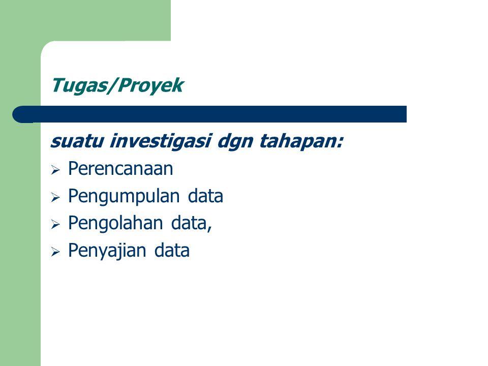 Tugas/Proyek suatu investigasi dgn tahapan:  Perencanaan  Pengumpulan data  Pengolahan data,  Penyajian data