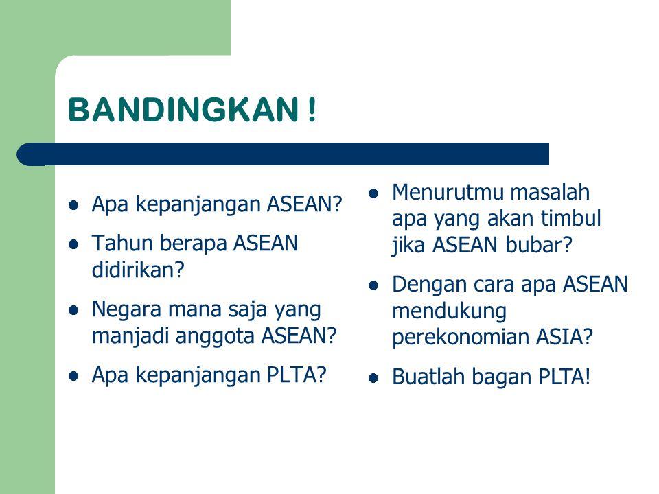 BANDINGKAN ! Apa kepanjangan ASEAN? Tahun berapa ASEAN didirikan? Negara mana saja yang manjadi anggota ASEAN? Apa kepanjangan PLTA? Menurutmu masalah