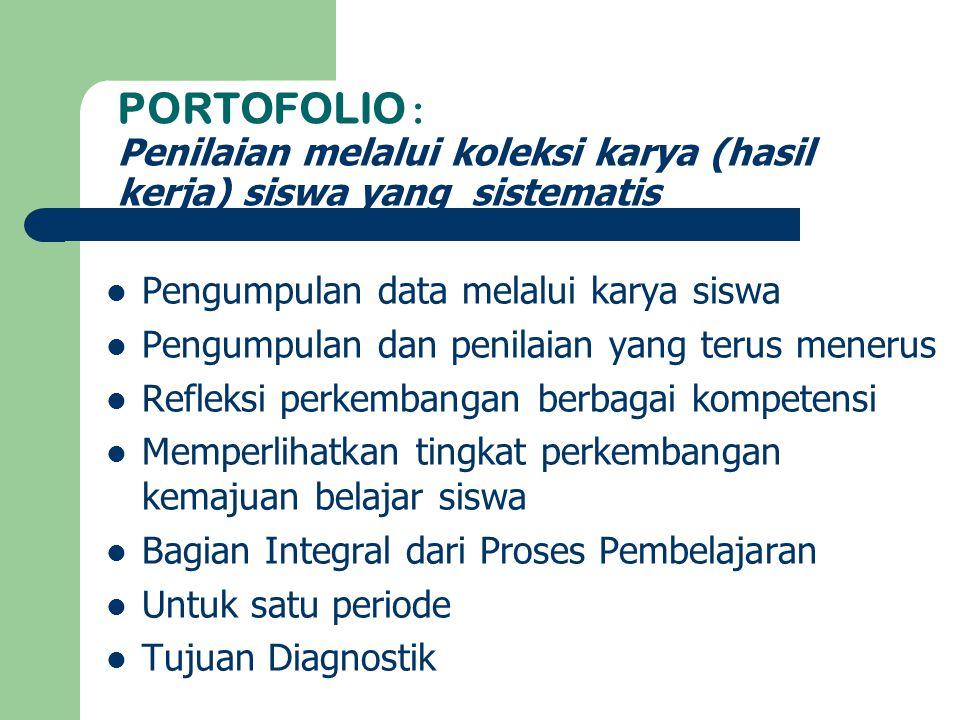 PORTOFOLIO : Penilaian melalui koleksi karya (hasil kerja) siswa yang sistematis Pengumpulan data melalui karya siswa Pengumpulan dan penilaian yang t