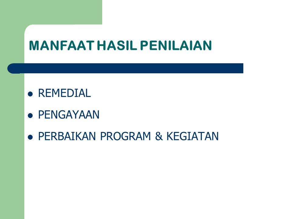 MANFAAT HASIL PENILAIAN REMEDIAL PENGAYAAN PERBAIKAN PROGRAM & KEGIATAN