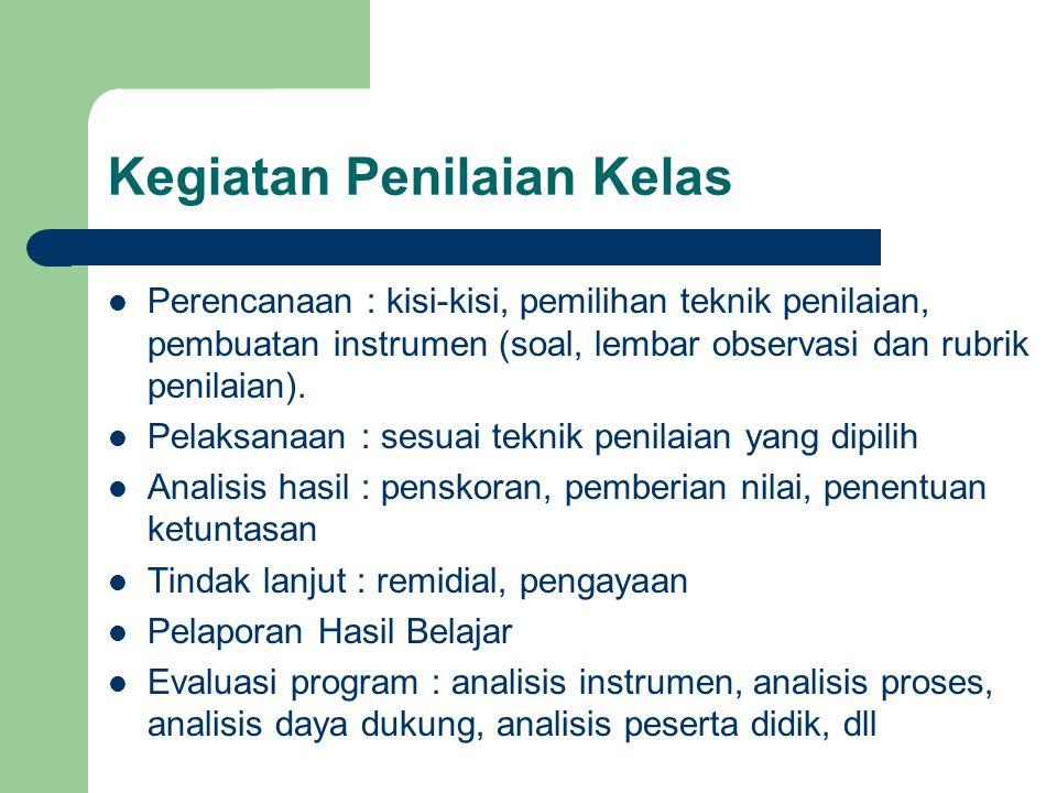 Kegiatan Penilaian Kelas Perencanaan : kisi-kisi, pemilihan teknik penilaian, pembuatan instrumen (soal, lembar observasi dan rubrik penilaian). Pelak