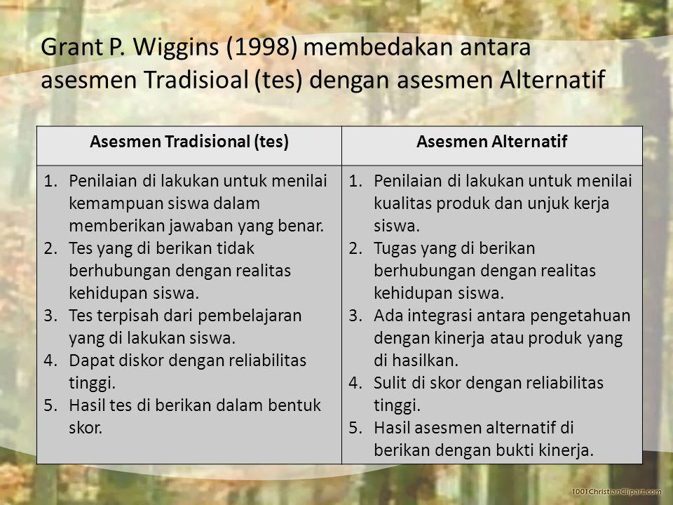 Grant P. Wiggins (1998) membedakan antara asesmen Tradisioal (tes) dengan asesmen Alternatif Asesmen Tradisional (tes)Asesmen Alternatif 1.Penilaian d