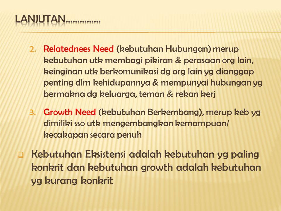 2.Relatednees Need (kebutuhan Hubungan) merup kebutuhan utk membagi pikiran & perasaan org lain, keinginan utk berkomunikasi dg org lain yg dianggap penting dlm kehidupannya & mempunyai hubungan yg bermakna dg keluarga, teman & rekan kerj 3.Growth Need (kebutuhan Berkembang), merup keb yg dimiliki sso utk mengembangkan kemampuan/ kecakapan secara penuh  Kebutuhan Eksistensi adalah kebutuhan yg paling konkrit dan kebutuhan growth adalah kebutuhan yg kurang konkrit