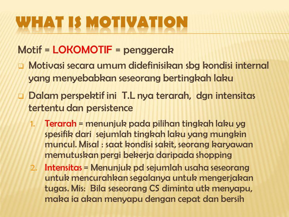 Motif = LOKOMOTIF = penggerak  Motivasi secara umum didefinisikan sbg kondisi internal yang menyebabkan seseorang bertingkah laku  Dalam perspektif ini T.L nya terarah, dgn intensitas tertentu dan persistence 1.Terarah = menunjuk pada pilihan tingkah laku yg spesifik dari sejumlah tingkah laku yang mungkin muncul.