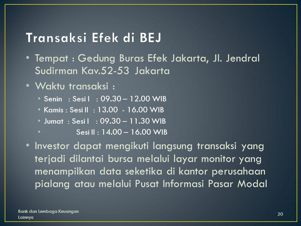 Tempat : Gedung Buras Efek Jakarta, Jl.