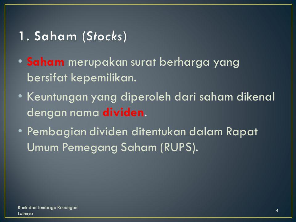 1.Dari segi cara peralihan a.Saham atas unjuk (bearer stocks) b.Saham atas nama (registered stocks) 2.Dari segi hak tagih a.Saham biasa (common stocks) b.Saham preferen (preferred stocks) Bank dan Lembaga Keuangan Lainnya 5