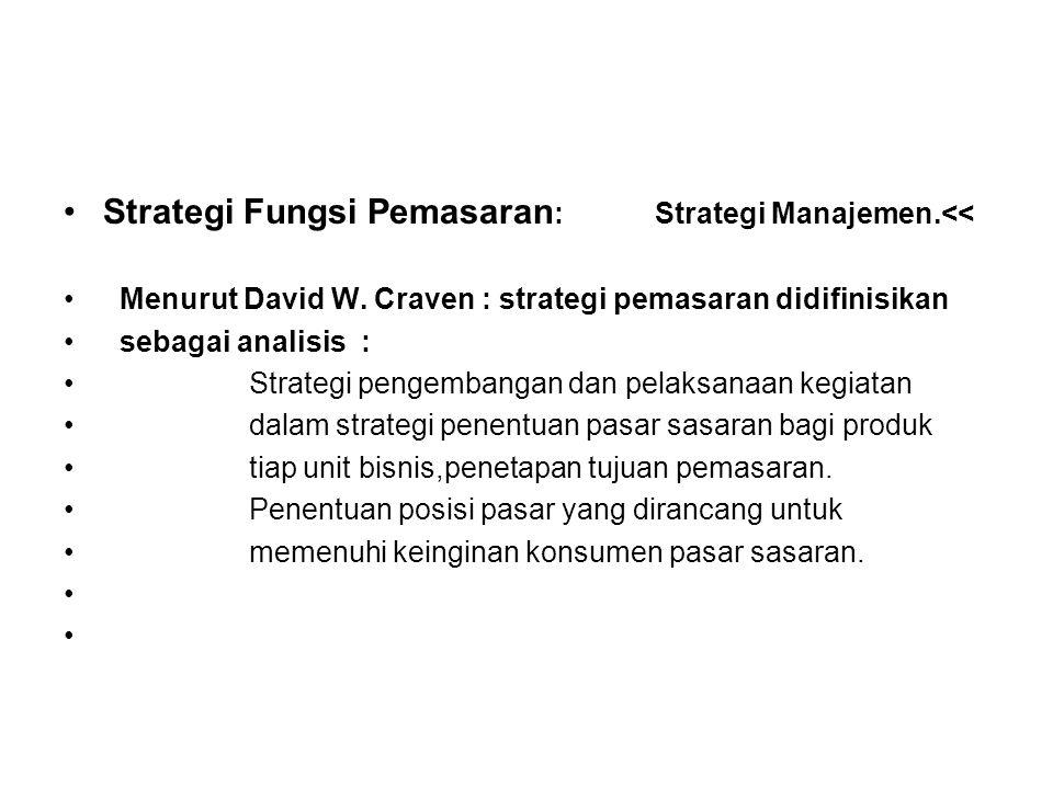 Strategi Fungsi Pemasaran : Strategi Manajemen.<< Menurut David W. Craven : strategi pemasaran didifinisikan sebagai analisis : Strategi pengembangan