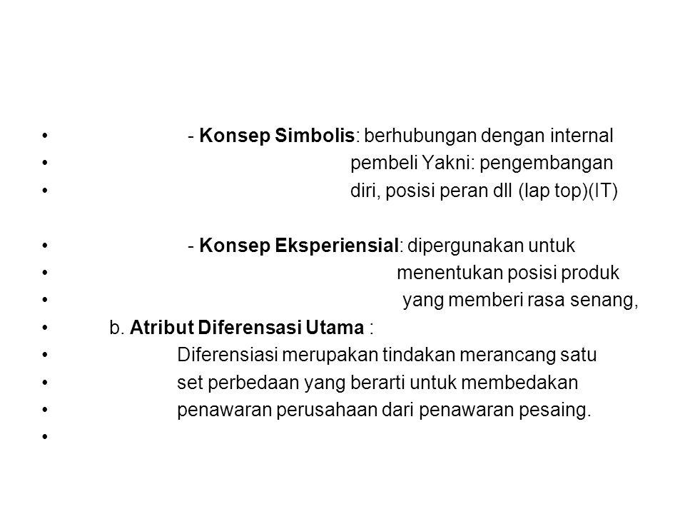- Konsep Simbolis: berhubungan dengan internal pembeli Yakni: pengembangan diri, posisi peran dll (lap top)(IT) - Konsep Eksperiensial: dipergunakan u