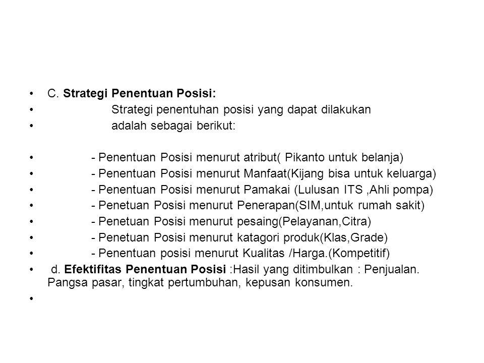 C. Strategi Penentuan Posisi: Strategi penentuhan posisi yang dapat dilakukan adalah sebagai berikut: - Penentuan Posisi menurut atribut( Pikanto untu
