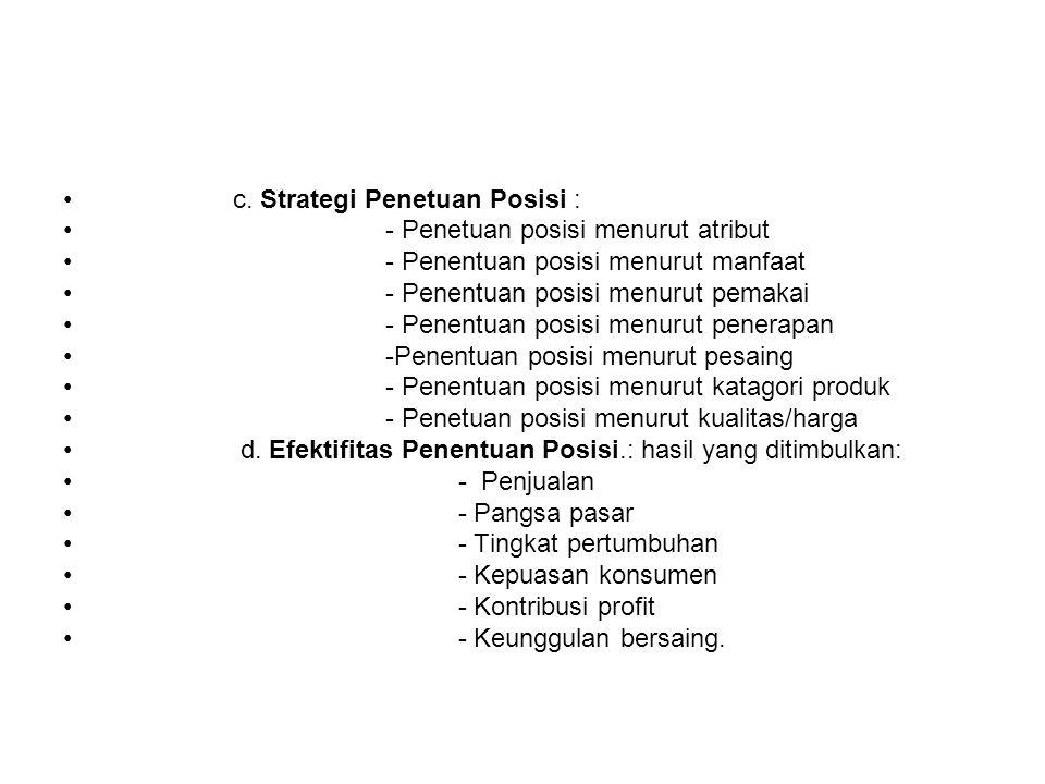 c. Strategi Penetuan Posisi : - Penetuan posisi menurut atribut - Penentuan posisi menurut manfaat - Penentuan posisi menurut pemakai - Penentuan posi