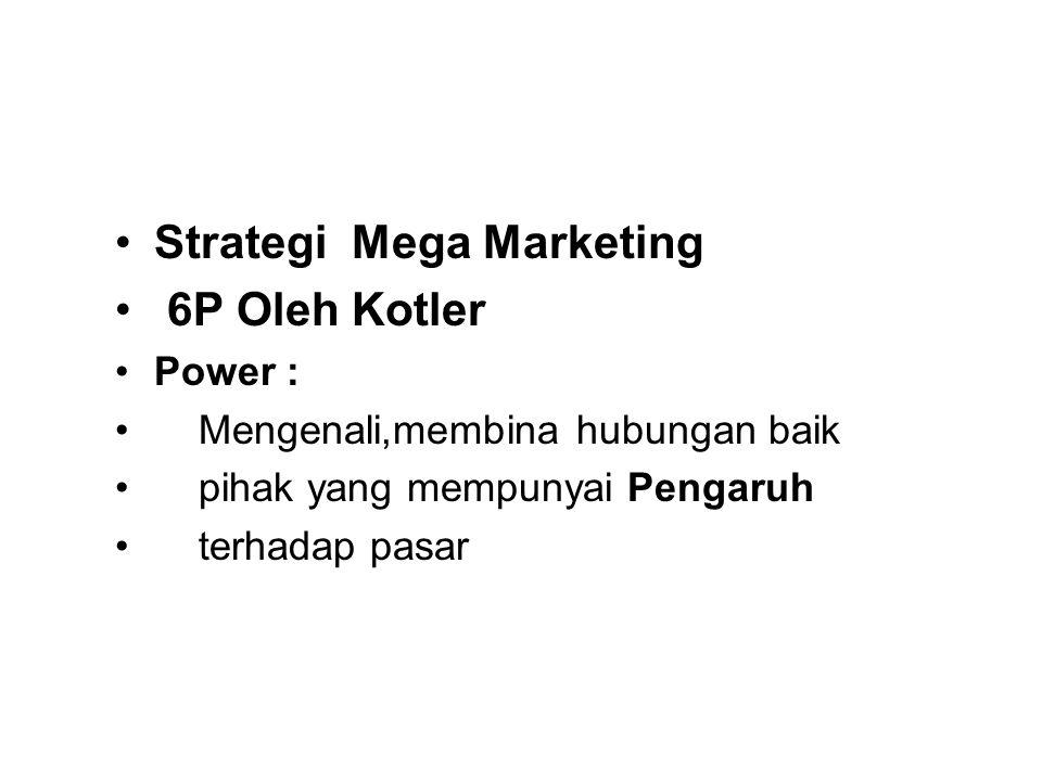 Strategi Mega Marketing 6P Oleh Kotler Power : Mengenali,membina hubungan baik pihak yang mempunyai Pengaruh terhadap pasar