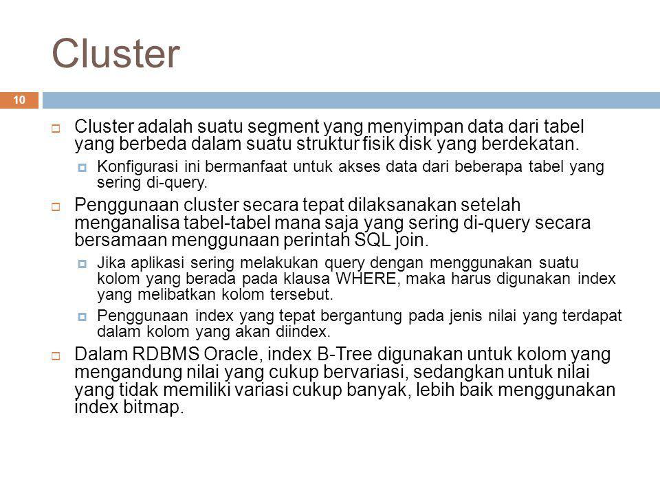 Cluster 10  Cluster adalah suatu segment yang menyimpan data dari tabel yang berbeda dalam suatu struktur fisik disk yang berdekatan.  Konfigurasi i