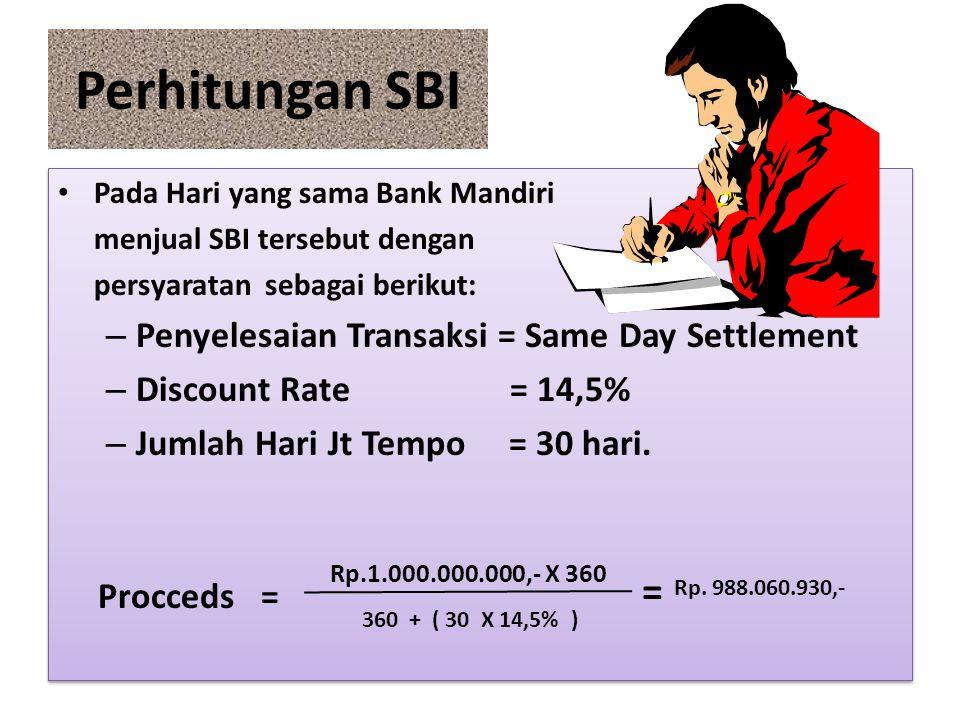 Perhitungan SBI Pada Hari yang sama Bank Mandiri menjual SBI tersebut dengan persyaratan sebagai berikut: – Penyelesaian Transaksi = Same Day Settleme