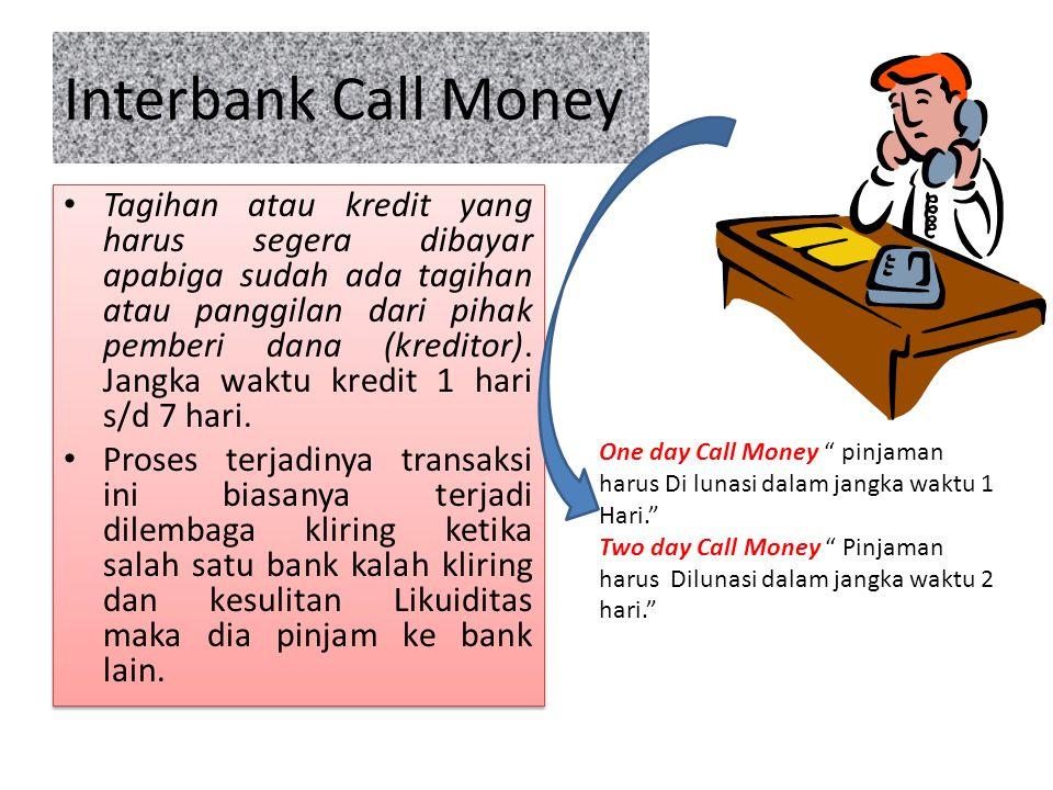 Interbank Call Money Tagihan atau kredit yang harus segera dibayar apabiga sudah ada tagihan atau panggilan dari pihak pemberi dana (kreditor). Jangka