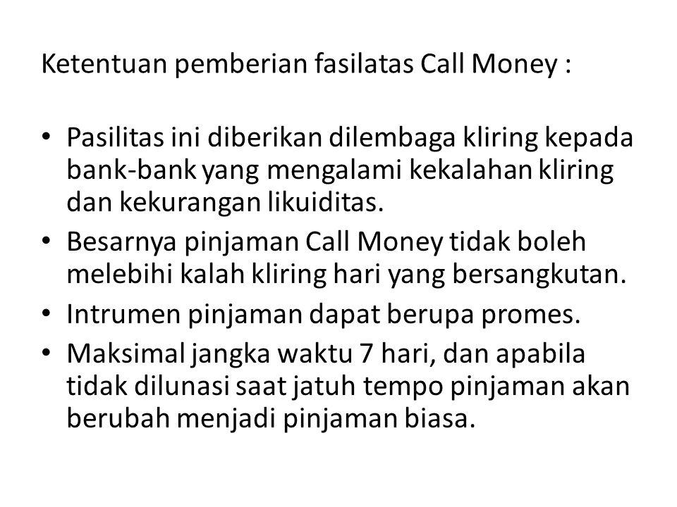 Ketentuan pemberian fasilatas Call Money : Pasilitas ini diberikan dilembaga kliring kepada bank-bank yang mengalami kekalahan kliring dan kekurangan