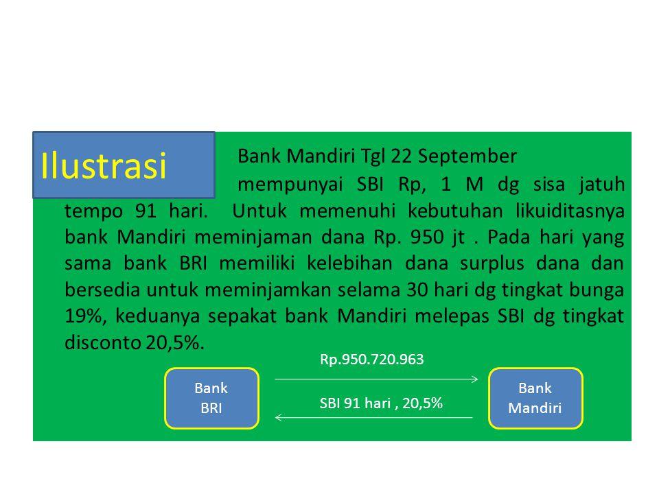 Bank Mandiri Tgl 22 September mempunyai SBI Rp, 1 M dg sisa jatuh tempo 91 hari. Untuk memenuhi kebutuhan likuiditasnya bank Mandiri meminjaman dana R