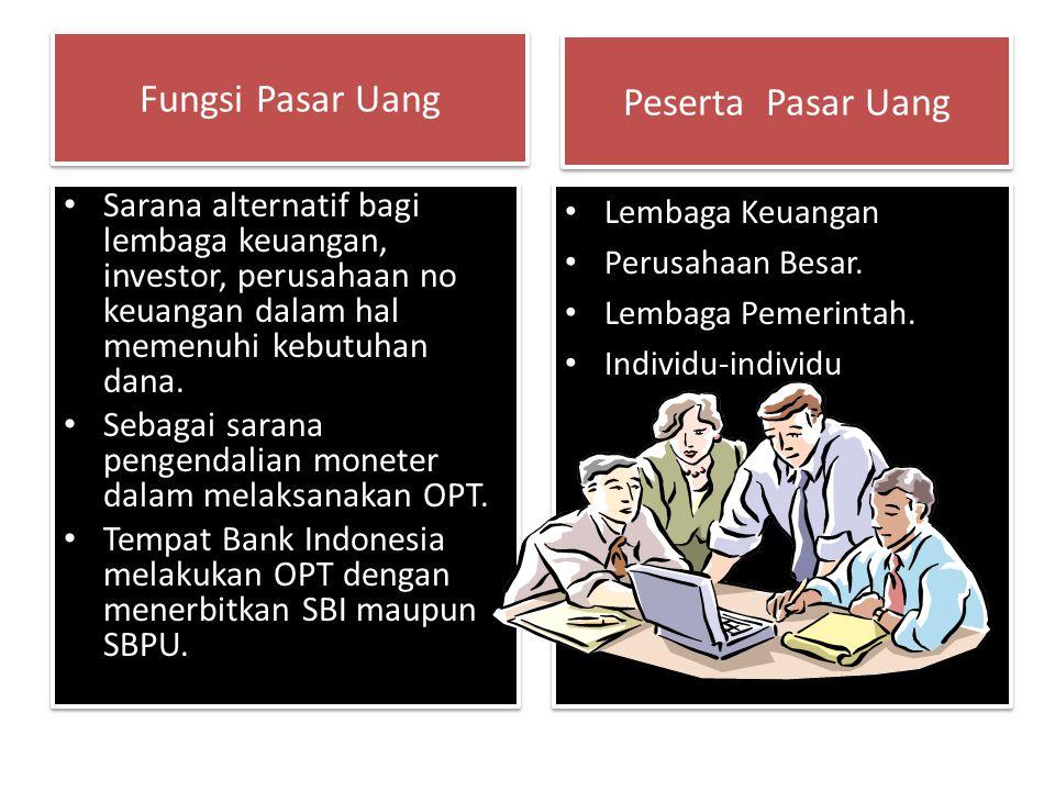 Fungsi Pasar Uang Sarana alternatif bagi lembaga keuangan, investor, perusahaan no keuangan dalam hal memenuhi kebutuhan dana. Sebagai sarana pengenda