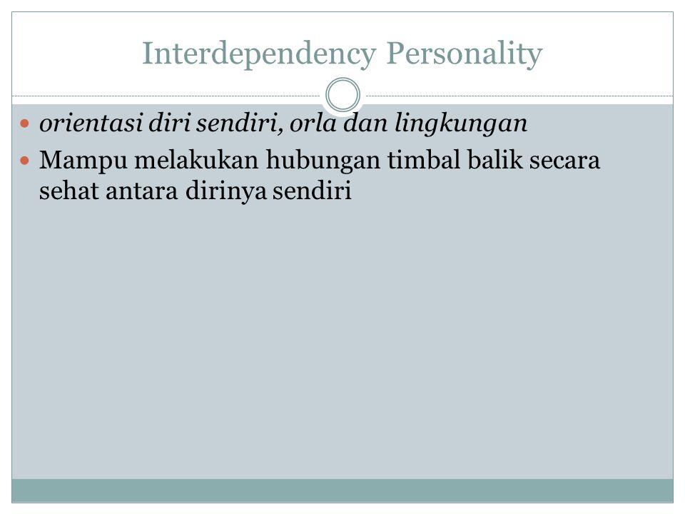 Interdependency Personality orientasi diri sendiri, orla dan lingkungan Mampu melakukan hubungan timbal balik secara sehat antara dirinya sendiri