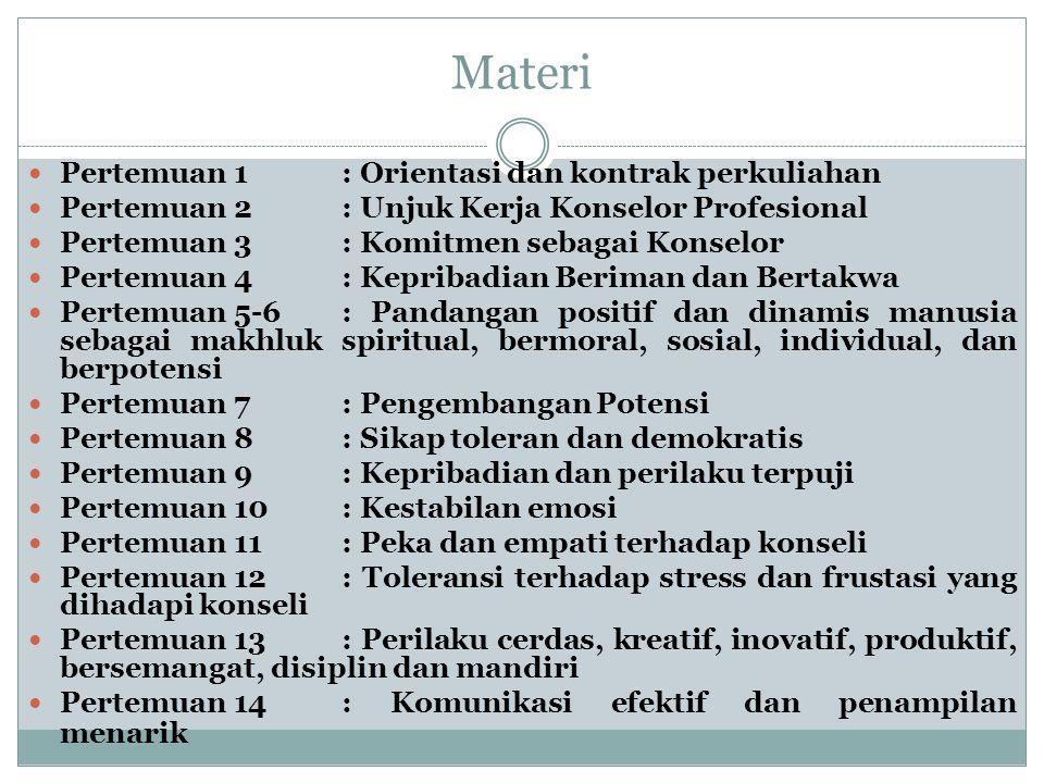 Materi Pertemuan 1: Orientasi dan kontrak perkuliahan Pertemuan 2: Unjuk Kerja Konselor Profesional Pertemuan 3: Komitmen sebagai Konselor Pertemuan 4