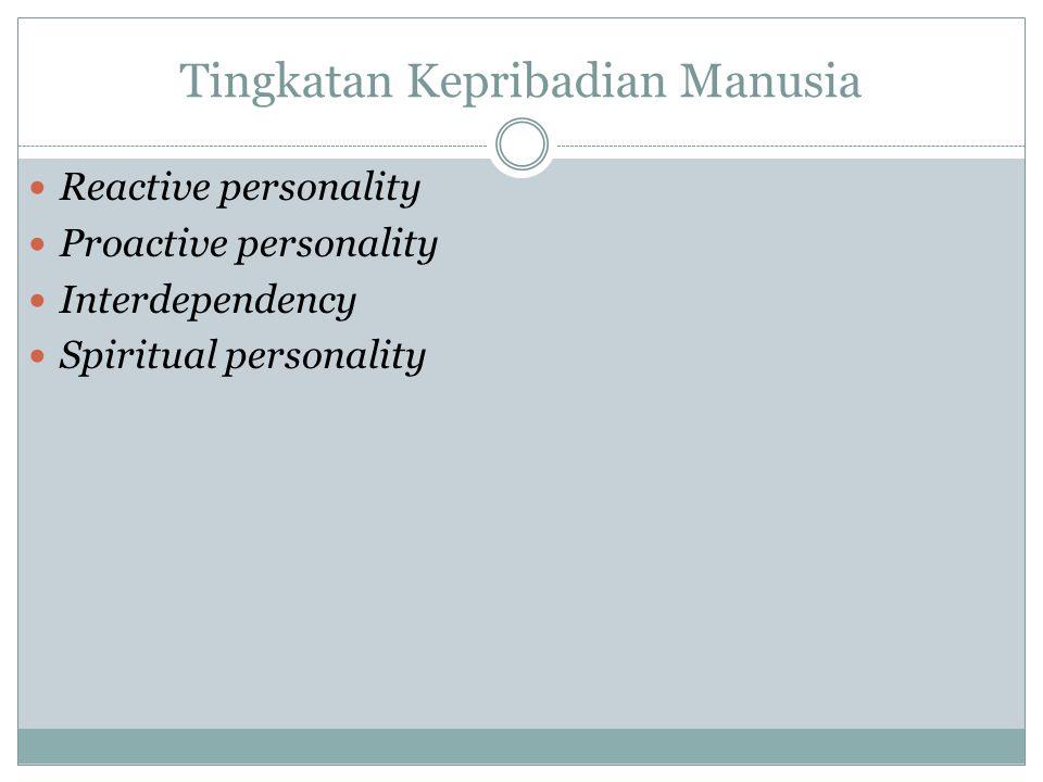 Reactive Personality orientasi diri sendiri Perilakunya cenderung dikendalikan oleh gejolak emosional yg menuntut kepuasannya sendiri.