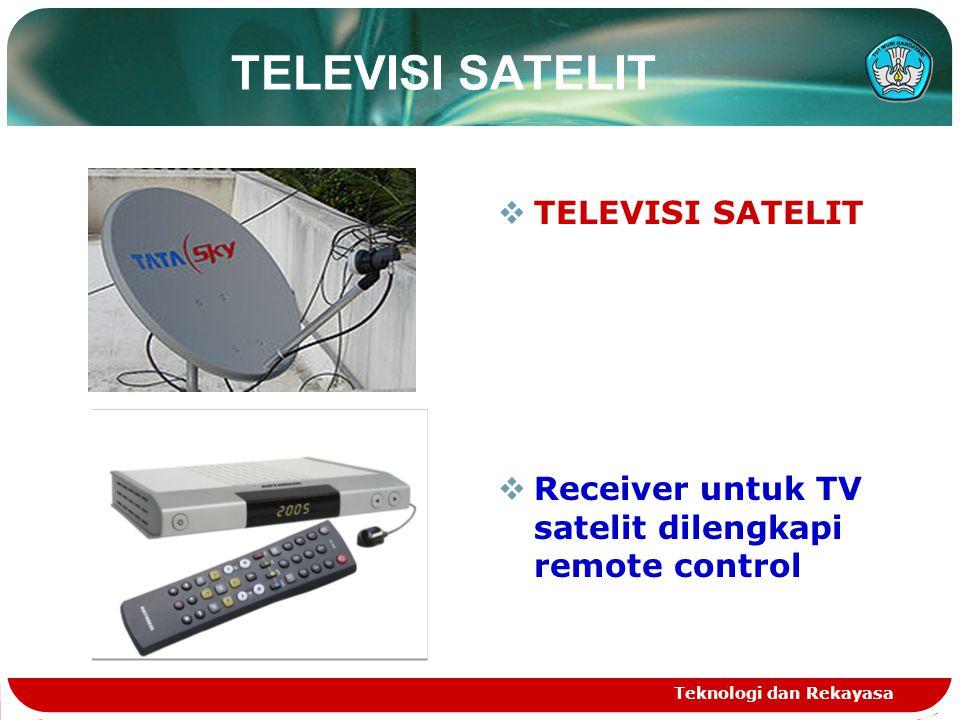 Teknologi dan Rekayasa TELEVISI KABEL PERALATAN TV KABEL  Receiver,Video Beta,VCD,DVD player  Disecq switch/ spliter 1 : 4 dan 1 : 2  Coaxial cable RG 6 U 75 ohm.