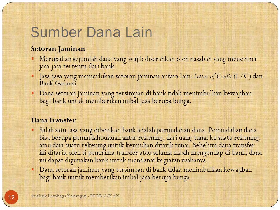 Sumber Dana Lain (2) Statistik Lembaga Keuangan - PERBANKAN 13 Surat Berharga Pasar Uang Merupakan surat –surat berharga jangka pendek yang dapat diperjualbelikan dengan cara diskonto oleh Bank Indonesia.