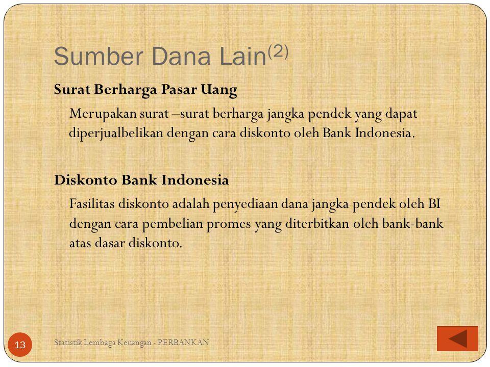 Sumber Dana Lain (2) Statistik Lembaga Keuangan - PERBANKAN 13 Surat Berharga Pasar Uang Merupakan surat –surat berharga jangka pendek yang dapat dipe